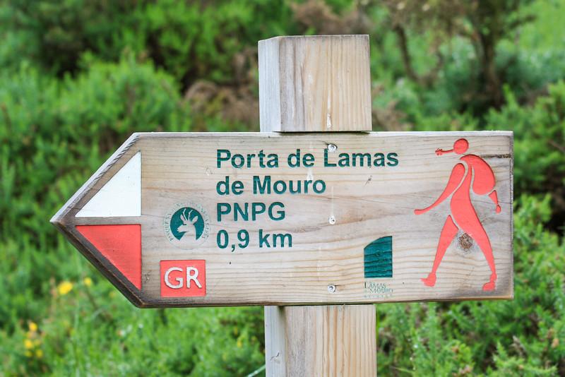 Hiking sign, Peneda-Gerês National Park, Portugal