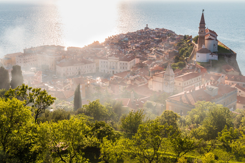 Piran at sunset, Slovenia