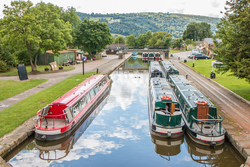 Docked boats in Trevor, North of the Pontcysyllte aqueduct, Wales