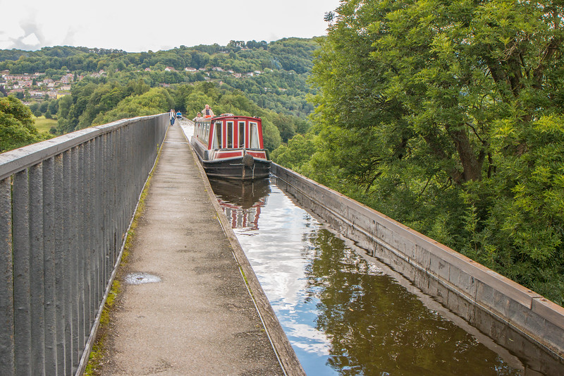 Boat crossing Pontcysyllte aqueduct and canal, Wales