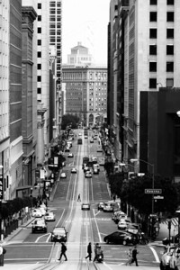 Streets of San Francisco  Taking photos in San Francisco is very fun and interesting. You can get such interesting perspectives from looking down the long streets while on the top of huge hills.  From the daily photo blog of http://alikgriffin.com
