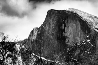 Yosemite Half Dome  Black and White photo from Yosemite. It's such a large mountain, no photo can really capture its scale.  From the daily photo blog of http://alikgriffin.com