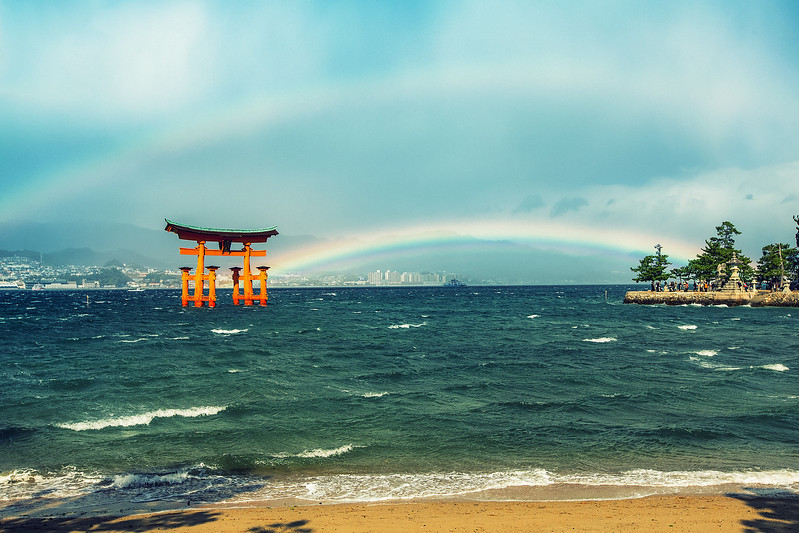 "Double Rainbow at Miyajima Japan<br /> <br /> They say the shrine was built in the water because the Japanese believed the island was a god. After seeing this I might be convinced.<br /> <br /> See this photo at <a href=""http://alikgriffin.com/blog/dec/13/double-rainbow-all-way"">http://alikgriffin.com/blog/dec/13/double-rainbow-all-way</a>"