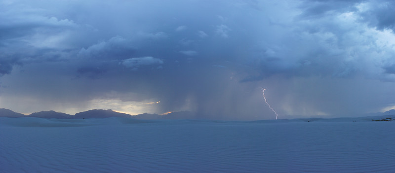 """""""...I WILL NOT TRY TO OUT CLIMB A THUNDERSTORM AGAIN..."""" - 13 June 2013<br /> <br /> Lightning Approaching - Whitesands National Monument, New Mexico<br /> <br /> I was talking with a non-aviation friend about thunderstorms earlier this week. I was on the phone describing a storm cell developing over the mountains to the east of where I live and observed, """"You can see it rising."""" """"Really, you can see it rise from where you are?"""" """"You sure can."""" I explained newly developing cells can rise thousands of feet in minutes. We aviators know this can result in a bad situation if you incorrectly estimate your aircraft's performance versus the storm's. This discussion reminded me of doing exactly that, putting myself in a bad situation due to overestimating my aircraft's performance. I remember saying to myself, in the middle of the situation, """"... I promise, I will never do this again!""""<br /> <br /> About 20 years ago, I was flying as an instructor in Lead In Fighter Training at Holloman AFB, flying AT-38's. My Operations Officer asked me to take an aircraft part up to Terre Haute, Indiana, to help fix a broken jet sitting up there. This was a good deal for me as I was volunteering for anything, including flying anywhere. The plan was to two-hop up to Terre Haute through Tulsa, Oklahoma, to get there by the end of the day. Then, I would work my way back home by Sunday. It was a good deal because I got the extra flying and I got to land places I'd never been before. <br /> <br /> The first leg up to Tulsa was a complete non-event. The second leg, that's when it got interesting. <br /> <br /> Back then, we used to fly T-38's in the mid-to upper 30,000 ft. for two reasons. The first was due to the substantial improvement in fuel economy when flying a turbo-jet aircraft. The second reason was you were usually above the clouds when flying that high... unless there are thunderstorms. Flying above the weather was really important because the T-38 didn't have a weather radar. It cer"""