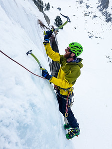 Ice climbing near Tioga Pass