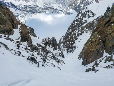 Looking down U Notch toward Palisade Glacier below