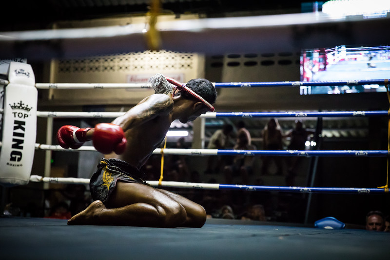 a Muay Thai kickboxer preparing for his fight