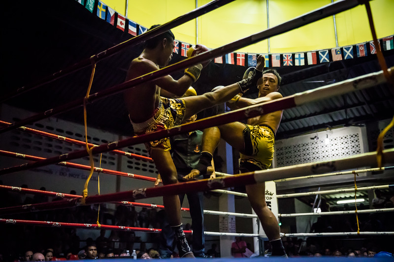 a Muay Thai kickboxing match in Patong