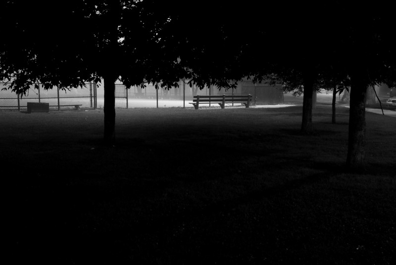 Fog and shadows in Dunahm Park in Chicago on the night of July 4, 2009.