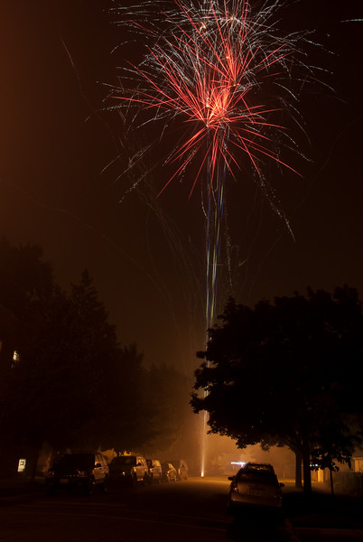 Fireworks near N. Marmora Ave and W. Berteau Ave in Chicago on the night of July 4, 2009, American Independence Day.