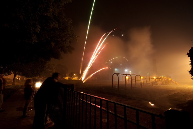 Fireworks over the grounds of Prussing Elementary School in Chicago on the night of July 4, 2009, American Independence Day.