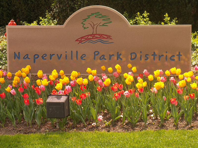 Sign outside the Naperville Park District office.