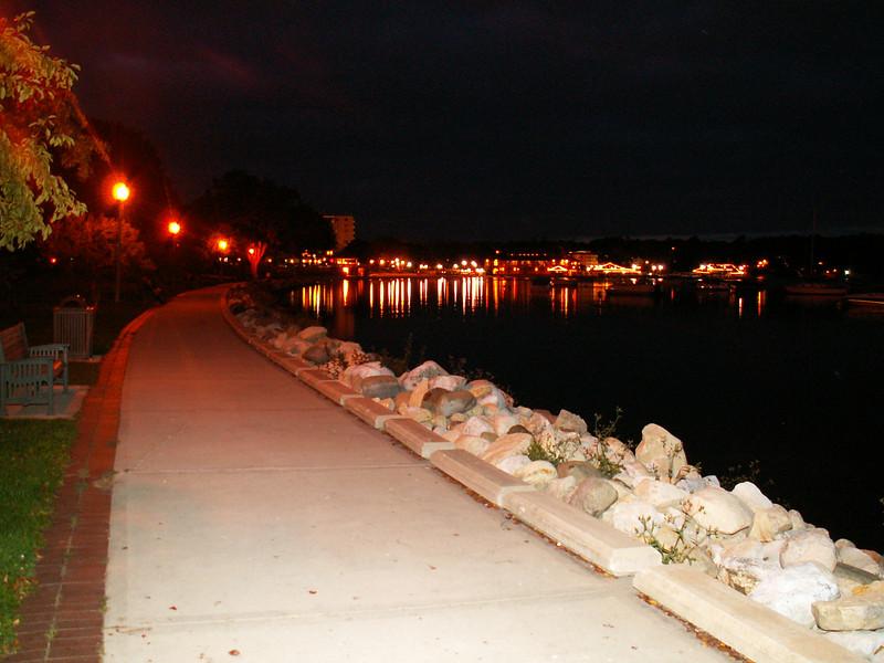 Lake Geneva Walkway at Night