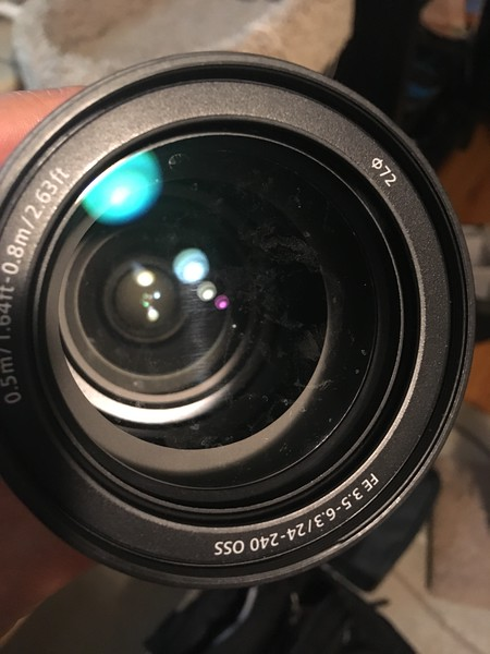 Water stains inside the lens