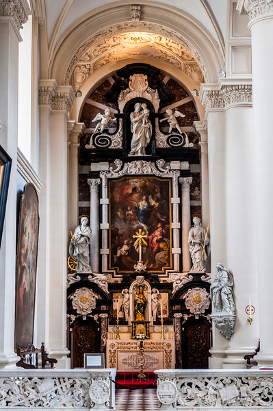 Inside one of the beautiful cathedrals that are throughout Bruges.  I wanted to preserve the sanctity of the place by not taking too many photos, however, the altar by the side was too beautiful not to share.