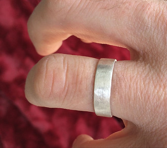 Andy's new wedding band. Fine silver.