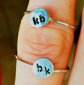 Valentine's BFF rings (with each girl's initial)