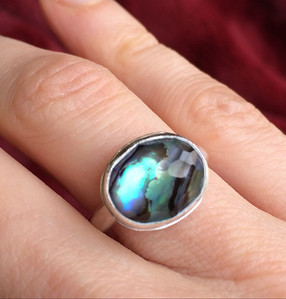 Faceted Oval 12 x 10mm Natural Quartz and Abalone Shell Doublet Cabochon Stone in sterling silver