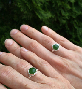 Mother Daughter Rings:  Jade stone in Sterling Silver