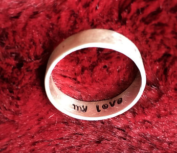 Andy's new wedding band, inside. Fine silver.