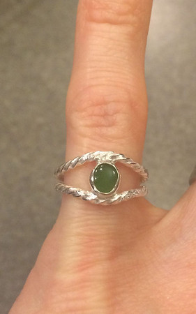 Jade with sterling silver twisted wire. Gift for Lindsay
