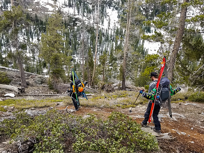 dry trail carrying ski gear in the Muir Wilderness