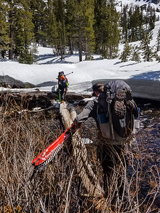 Crossing log over river with skis