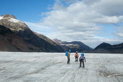 Brett Kelsey and Alec walking across the Salmon Glacier