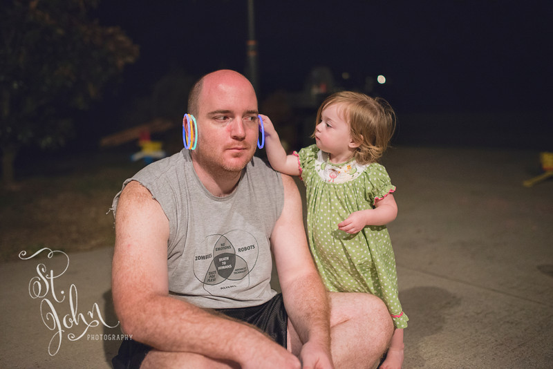 Good Daddy... After 7 hours of hard yard work, Jason had the patients to allow Maddie to put earrings on him. Father WIN!