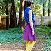"""My last make of the summer was another version of my skirt hack from the By Hand London Anna dress pattern.<br /> <br /> The fabric was the oldest of my stash. I bought it right before Bon Bon Atelier in Westport closed (and right after I took sewing lessons in 2013). The purple cotton is actually made of red and navy thread. I didn't have much of it, 2 yards by 44"""" wide, so I was limited to a shirt or skirt. And I didn't really have anything that matched because I don't wear navy. While I was making the cherry shirt I noticed they went rather well together. So it finally became a garment."""