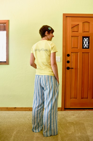 The gauzy fabric is from my Fabric Recycles stash, so I wasn't certain of its content. I think it's rayon or mostly rayon based on a burn test. It feels decent but has minimal breathability issues, so I assume there's some synthetic material in there.<br /> <br /> It frays a lot. When I washed it the first time after wearing, I actually had to repair the waistband seam. I trimmed the seam allowance too close, and it came apart in the wash.