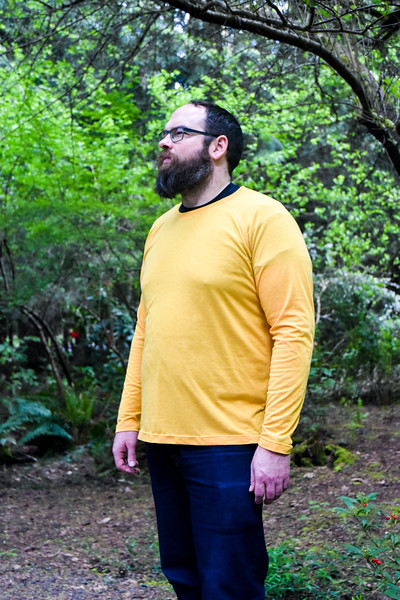 As for the fabric, we raided my stash for a suitable wearable muslin. This lightweight yellow is leftover from when I made myself a tank. I don't recall the content, but I used the cotton settings on my iron, and it didn't melt!