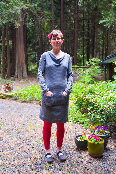 This is such a cozy dress. I finished it in March (after starting in January, yikes!), and I've worn it on lots of cool, rainy days, always with merino wool leggings. <br /> <br /> Summer ended abruptly last week, and the rain returned. Just in time for me to finally finish my only summer project, a rayon dress that I will try to write about this week!