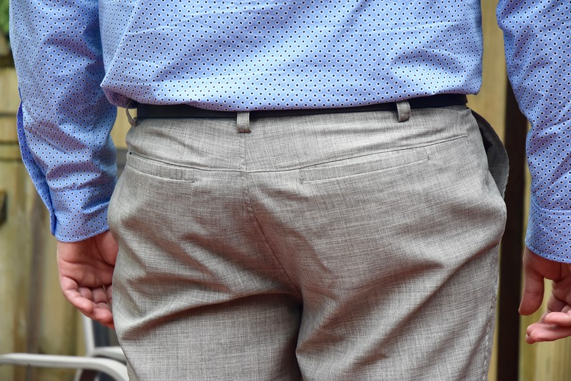 I incorporated welt pockets into his pants once before, but he said the opening wasn't wide enough, so I added an inch to the width of the welt.