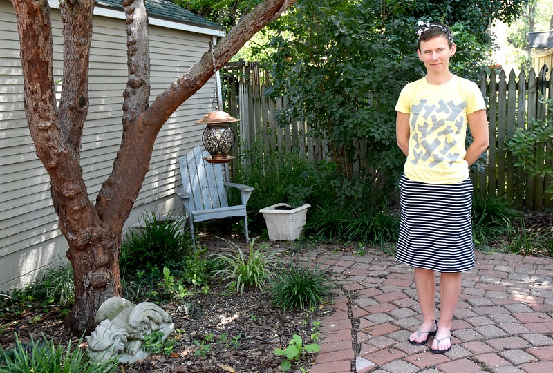 I even snuck in a little July project for myself.<br /> <br /> This is another Wren skirt, this time with a synthetic knit from Fabric Recycles. Those stripes were nauseating to look at as one mass. But once I cut it into smaller pieces, it was much more visually appealing.