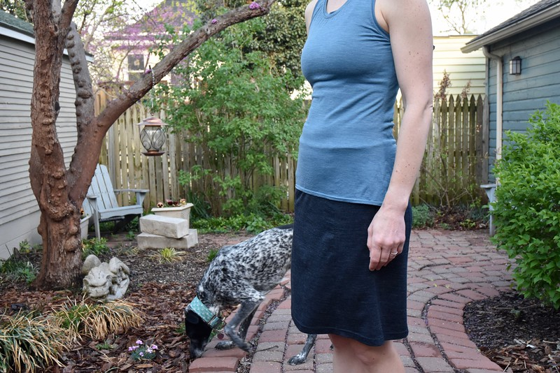 """More of my merino wool knits from Stitchology. I used the charcoal to make a skirt from the Colette Wren dress pattern. I cut the same size as my dress — <a href=""""https://winnelspot.smugmug.com/Old-albums/Lovely-merino-and-a-semiformal/i-gQVspwW"""">https://winnelspot.smugmug.com/Old-albums/Lovely-merino-and-a-semiformal/i-gQVspwW</a> — and again shortened it 4 inches. I cut a waistband and facing of 2.75 inches by 25.5 inches."""