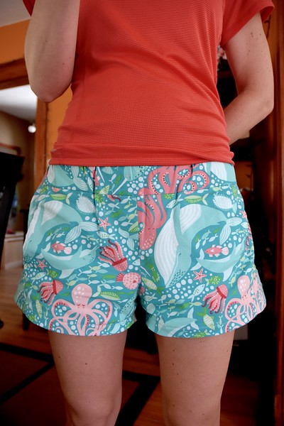 After all the challenges of silk and fitting a new style, my brain needed a quick easy project: under-the-sea PJ pants.