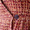 "I love this button. For some reason, I wanted a beautiful button, maybe because it's the only one that shows. I found it at Sarah's Fabrics in Lawrence. I also bought the Bemberg lining for the skirt there.<br /> <br /> I substituted a button for hook and eye on the inside. It's leftover from my Hawthorn dress. I moved the closure 1.75 inches tighter than the markings on the pattern.<br /> <br /> Victory's instructions for the thread loop look promising, but I like this method: <a href=""https://www.youtube.com/watch?v=vAsF-zodUk4"">https://www.youtube.com/watch?v=vAsF-zodUk4</a>. It's the only hand sewing I enjoy. I meant to measure the loop before I attached it, but it's about 1.25 inches for a 9/16-inch button."