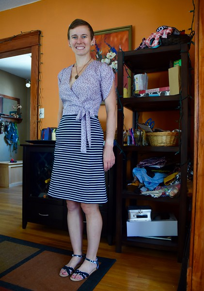 I like the look of this top with the Wren skirt hack, but it would be nice to wear it with a more summer-appropriate fabric than merino wool. I tried it on with my stripy Wren. Mikey says no. I don't mind the mixed patterns.