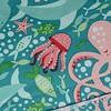 So many fun critters in this print, including this jellyfish and sleepy octopus.