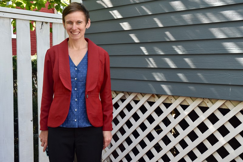 Now it's a Bellatrix Blazer by Papercut Patterns. This is my first time working with Papercut. They make several cute patterns, but most of them just aren't my style.<br /> <br /> I've been wanting a simple cut that buttons (many jacket patterns don't fasten) and thought Sew Over It's Francine jacket was perfect. But it's only a class, and I can't exactly fly to London to make a jacket. Enter Bellatrix, which Papercut sells as a PDF.  I hear the printed patterns are like opening a present!