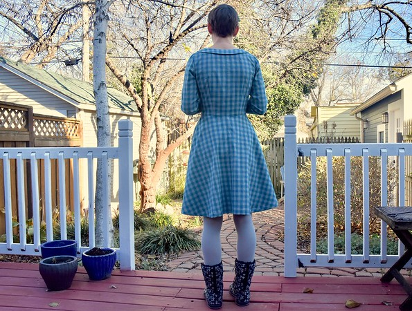 I used my tried-and-true Colette Hawthorn. No changes to sizing.<br /> <br /> This dress is incredibly comfortable and fits really well. I wore it today, when the temperature dropped and we got some snow in Kansas City.