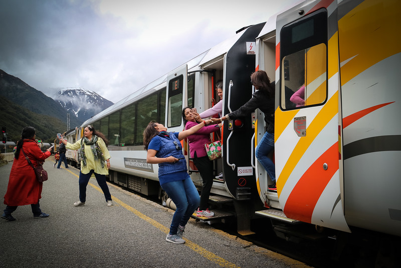 161016 - The Tranzalpine train journey from Christchurch to Greymouth stopped at the top of the Arthurs Pass for five minutes to let passengers enjoy the high altitude and fresh mountain air.