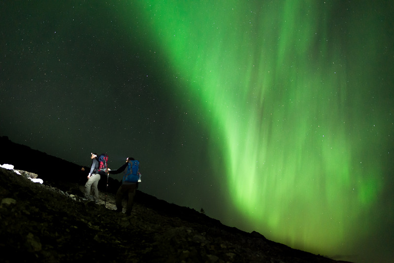 Hiking up EEOR under dancing Northern Lights.