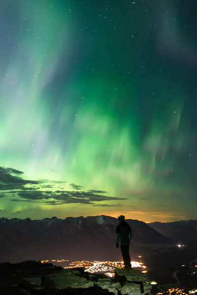 A self portrait of the aurora over the Town of Canmore.