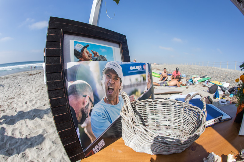 Brad edwards memorial setup at south ponto beach