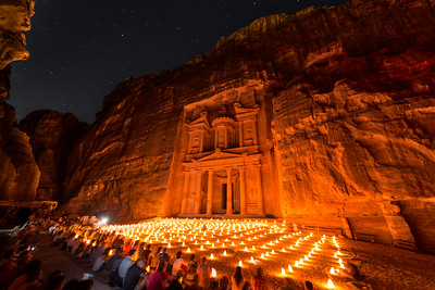 Tourists in front of Al-Khazneh at night