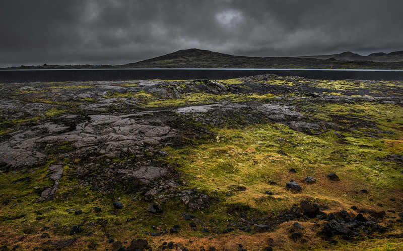 Lava field and moss near Thrihnukagigur volcano Iceland