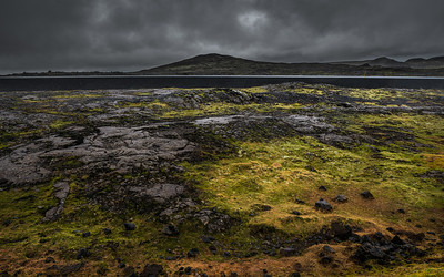 Lava field and moss near Thrihnukagigur volcano Iceland