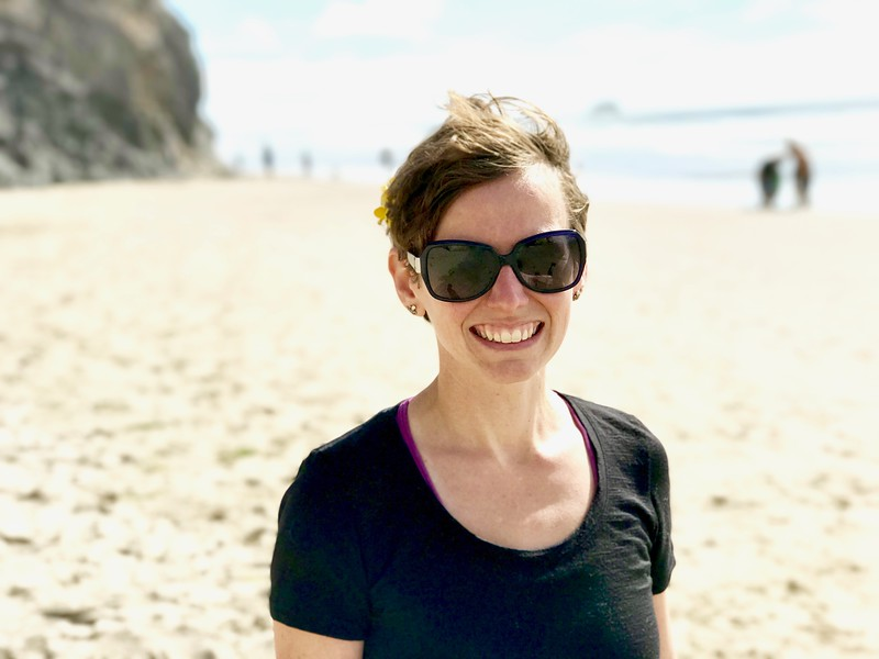But Oregon redeemed itself at our last (impromptu) stop. I needed to pee, so we pulled into Hug Point State Park and ended up walking up and down the beach. Mikey took a pretty picture of me (at my insistence — I could probably stand to update my Facebook profile picture).